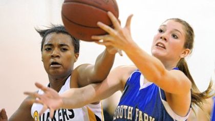 Quaker Valley's Rachel Smith, left, South Park's Mikaela Tranter battle for a loose ball.