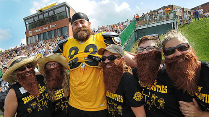 "August: Steelers defensive end Brett Keisel poses with ""Brett's Bearded Beauties"" at training camp."