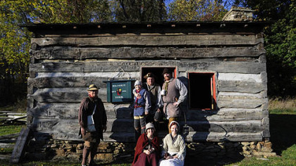 October: Reenactors at the Bloody Dirt Tavern at the Enock Wright House in Peters.