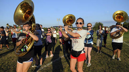 September: The Moon Area High School band in practice.