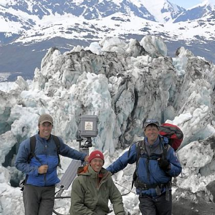"""Extreme Ice Survey"" team members Adam LeWinter, left, Jeff Orlowski, James Balog of EIS at Columbia Glacier, Columbia Bay, Alaska, in 2008."
