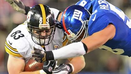 Steelers tight end Heath Miller is second in the AFC with 71 receptions and trails Mike Wallace by 20 receiving yards for the team lead.