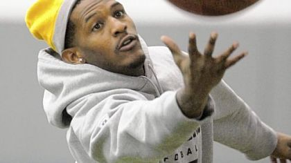 Steelers wide receiver Mike Wallace plays with the football in practice Wednesday at the team's South Side facility. Wallace has been ruled out for Sunday's game against the Browns, meaning his career with the Steelers could be over.
