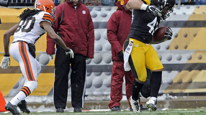 The Steelers&#039; Troy Polamalu pulls in his 30th career interception against the Browns&#039; Travis Benjamin in the first quarter.
