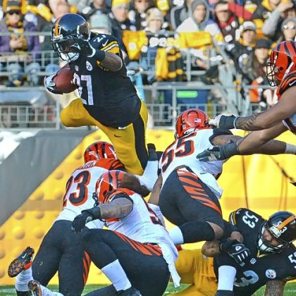 Steelers running back Jonathan Dwyer leaps for yardage a weel agao against the Bengals in the first half at Heinz Field.
