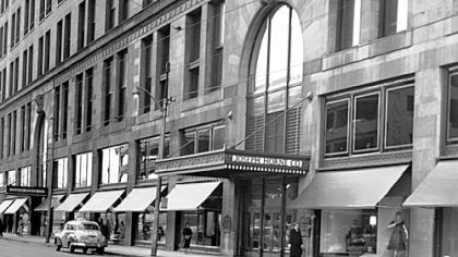 A mid-20th century view of the front of the former Joseph Horne Co. building.