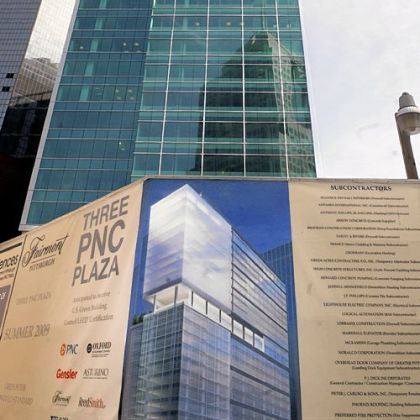 Three PNC Plaza features upscale condominiums on floors 14-23. The building opened in 2009 and also houses a Fairmont hotel.