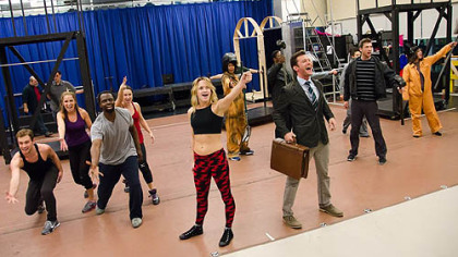 'Flashdance the Musical' cast rehearsal, with Emily Padgett, center, who portrays Alex.