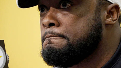 Steelers head coach Mike Tomlin gives his end-of-season remarks Monday at the team's offices. The Steelers finished the season 8-8, and out of the playoff picture.