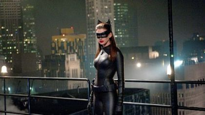 "Anne Hathaway as Selina Kyle in ""The Dark Knight Rises."""