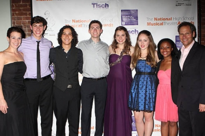 Choreographer Kiesha Lalama, left, and National High School Musical Theater Awards president Van Kaplan, right, with the 2012 Jimmy Award finalists: From left, Drew Shafranek, winner Joshua Grosso, Evan Greenberg, winner Elizabeth Romano, Nicolette Burton and Center Township's Erica Durham.