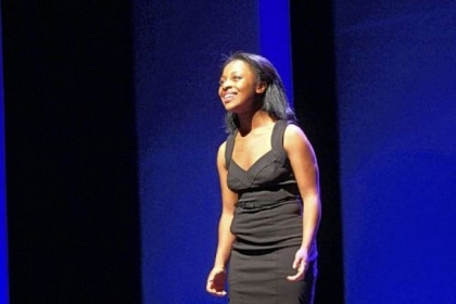 Erica Durham of Aliquippa performs her solo on Broadway's Minskoff stage at the 2012 National High School Musical Theater Awards Monday night. She was a finalist in the contest, winning $2,500.Awards.