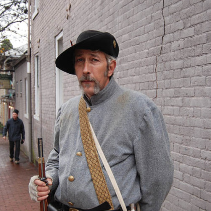 Jimmy Fowler of Fredericksburg has been a Civil War re-enactor for three years. He was standing guard on Hanover Street during street fighting at the 150th anniversary of the Battle of Fredericksburg.