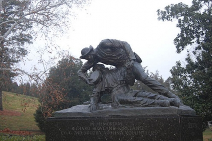 In 1965, a larger-than-life statue by Felix DeWeldon of Sgt. Richard Kirkland tending to a wounded Union solder was unveiled at Marye's Heights in Fredericksburg, Va.